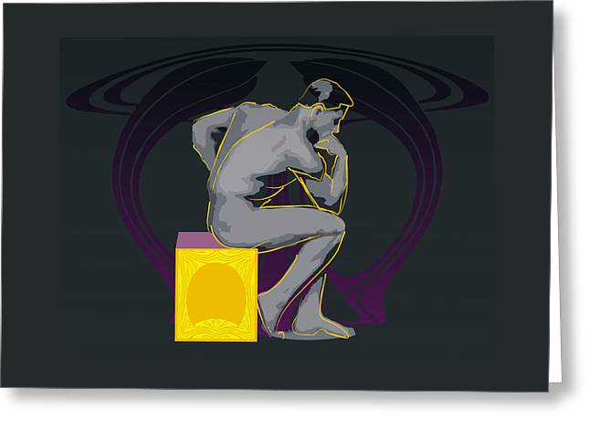 Artistic Nude Framed Prints Greeting Cards - The Thinker - El pensador Greeting Card by Quim Abella