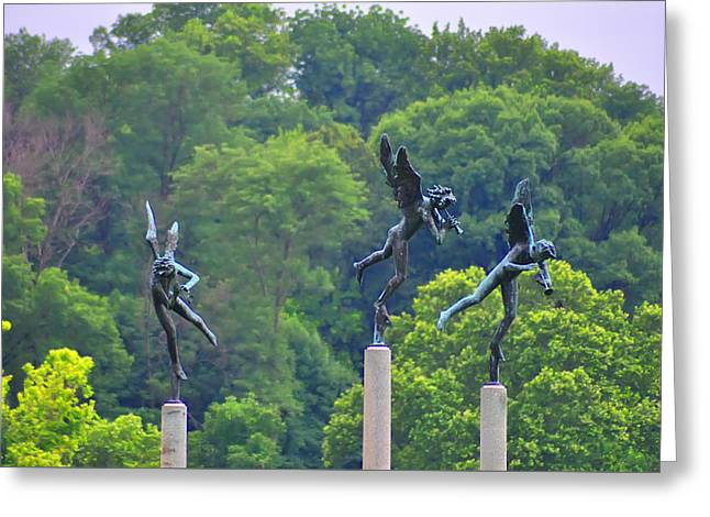 Flying Angel Greeting Cards - The Three Angels Greeting Card by Bill Cannon