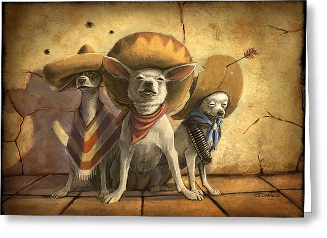 Dogs Digital Greeting Cards - The Three Banditos Greeting Card by Sean ODaniels