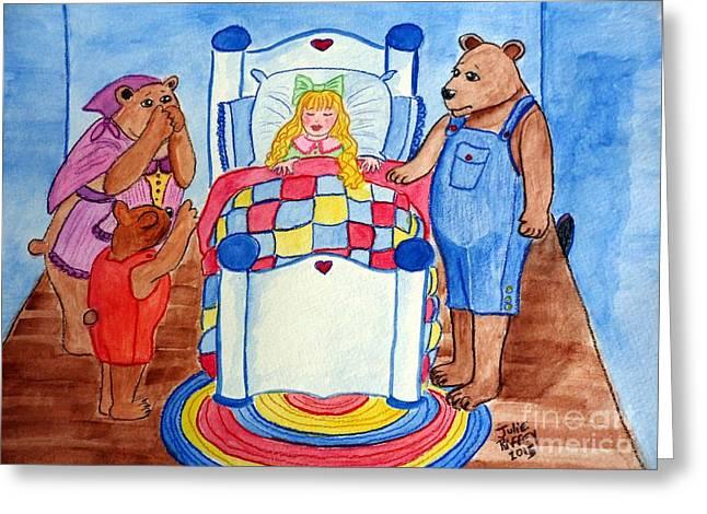 Nursery Rhyme Mixed Media Greeting Cards - The Three Bears and Goldilocks Greeting Card by Julie Brugh Riffey