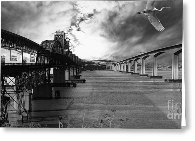 Train Bridge Greeting Cards - The Three Benicia-Martinez Bridges . A Journey Through Time . Black and White Greeting Card by Wingsdomain Art and Photography