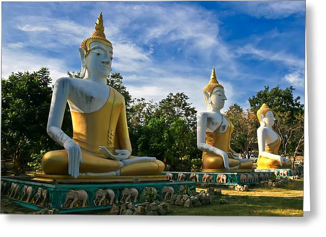 Buddhism Digital Art Greeting Cards - The Three Buddhas  Greeting Card by Adrian Evans