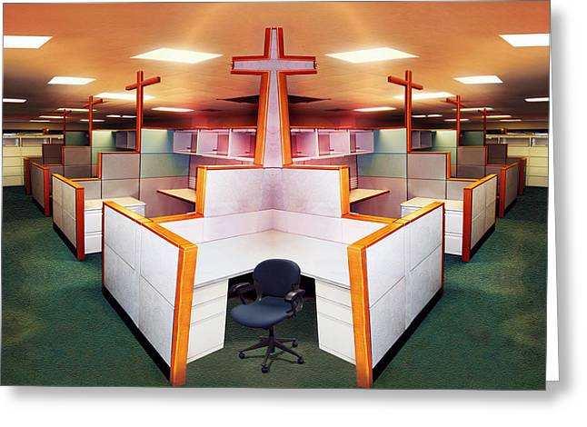 Cubicle Greeting Cards - The Three Crosses Greeting Card by Simon Currell