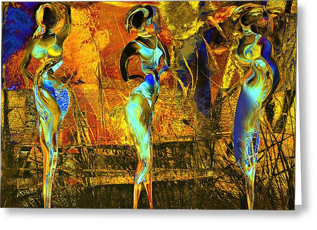 Africa Mixed Media Greeting Cards - The three graces Greeting Card by Anne Weirich