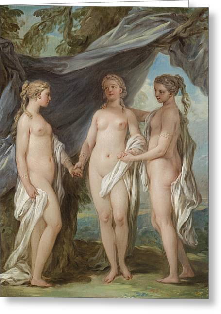 Female Body Greeting Cards - The Three Graces Greeting Card by Charles-Amedee-Philippe van Loo