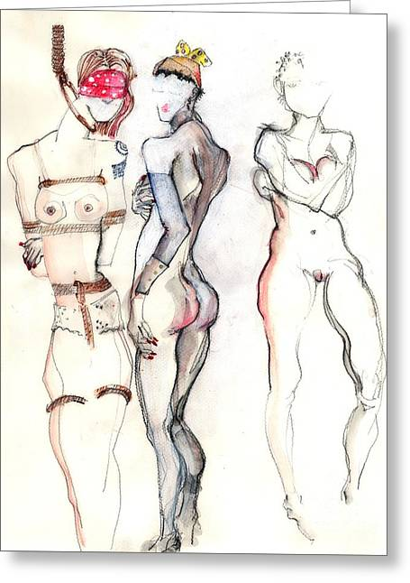 The Three Graces - Female Nudes Greeting Card by Carolyn Weltman