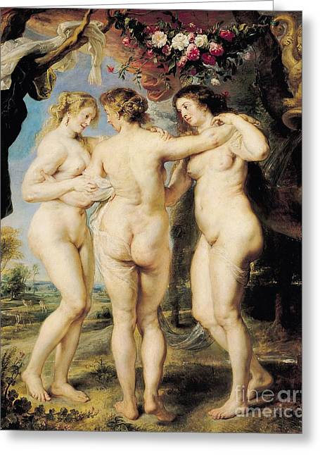Buttocks Greeting Cards - The Three Graces Greeting Card by Peter Paul Rubens