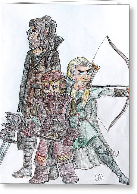 Outfit Drawings Greeting Cards - The Three Hunters Greeting Card by Nina MacDonald