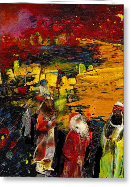 Mage Greeting Cards - The Three Kings Greeting Card by Miki De Goodaboom