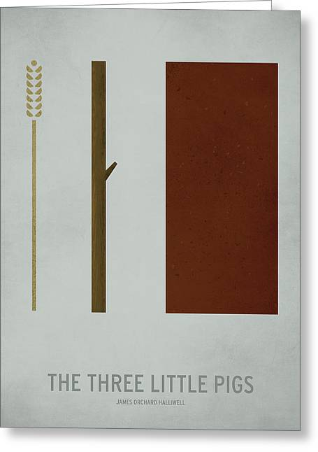 Minimalist Greeting Cards - The Three Little Pigs Greeting Card by Christian Jackson
