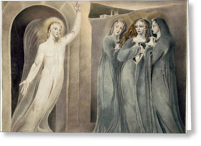 Sepulchre Drawings Greeting Cards - The Three Maries at the Sepulchre Greeting Card by William Blake