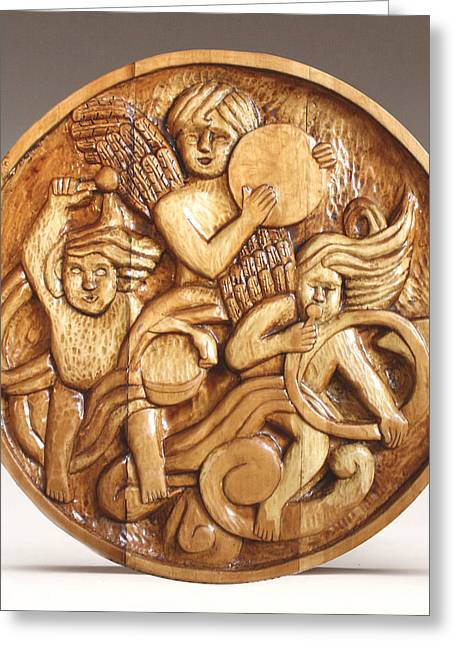 Woodworking Reliefs Greeting Cards - The Three Singing Angels  Greeting Card by James Neill