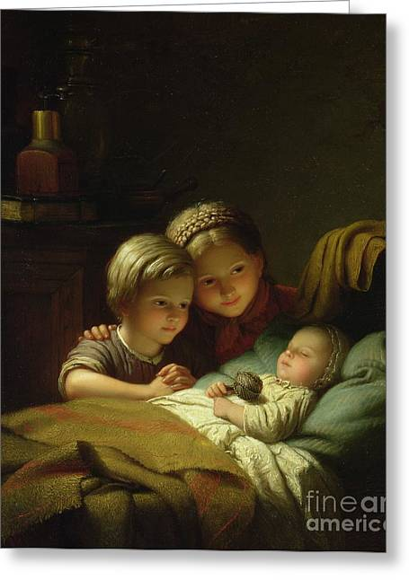 Sleep Paintings Greeting Cards - The Three Sisters Greeting Card by Johann Georg