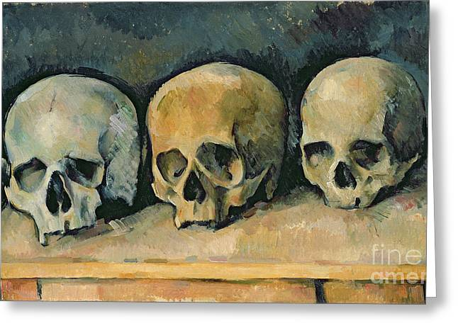 Desk Greeting Cards - The Three Skulls Greeting Card by Paul Cezanne
