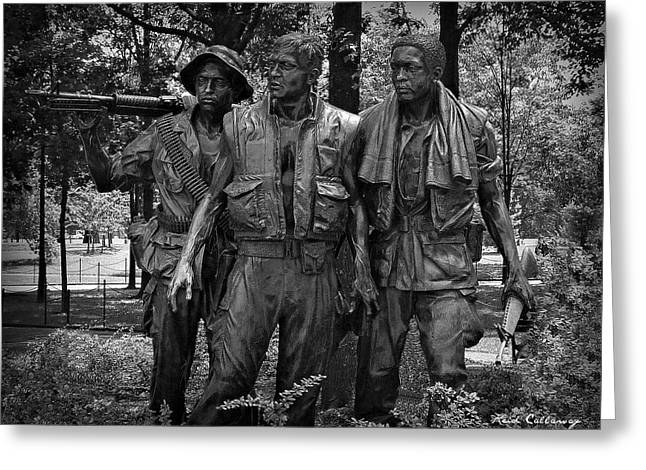 Canteen Greeting Card featuring the photograph The Three Soldiers Duty Honor Country Vietnam Veterans Memorial  by Reid Callaway