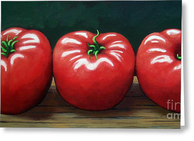 Linda Apple Paintings Greeting Cards - The Three Tomatoes - realistic still life food art Greeting Card by Linda Apple