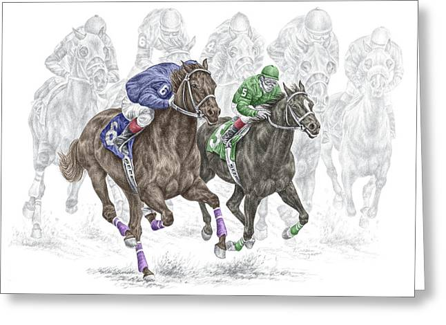 Race Horse Drawings Greeting Cards - The Thunder of Hooves - Horse Racing Print Color Greeting Card by Kelli Swan