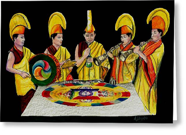 Monk Mixed Media Greeting Cards - The Tibetan Monks at Lilydale Assembly Greeting Card by Albert Puskaric