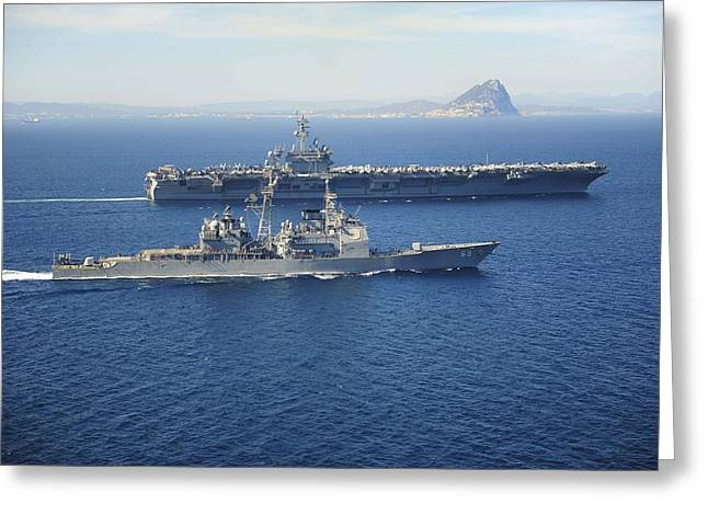 Cvn-69 Greeting Cards - The Ticonderoga-class guided missile cruiser USS Vicksburg Greeting Card by Celestial Images