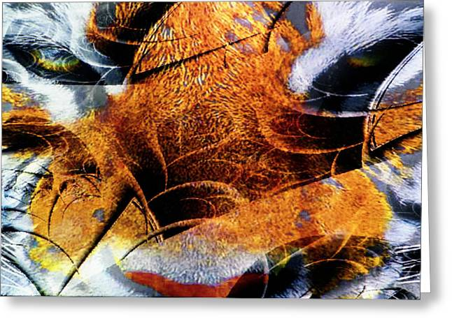 Tiger Fractal Greeting Cards - The tiger and the Samurai Greeting Card by Johnny Aguirre
