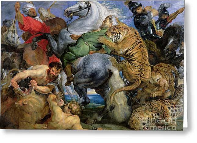 Danger Greeting Cards - The Tiger Hunt Greeting Card by Rubens