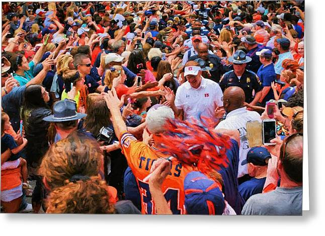 Tigers Tradition Greeting Cards - The Tiger Walk Greeting Card by JC Findley
