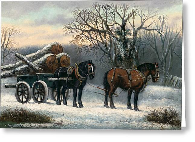 Horse And Cart Paintings Greeting Cards - The Timber Wagon in Winter Greeting Card by Anonymous