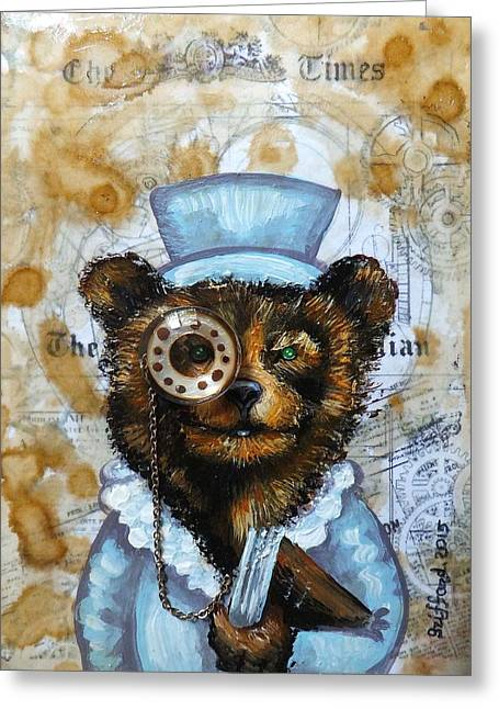 Cog Paintings Greeting Cards - The times bear Greeting Card by Anna Griffard
