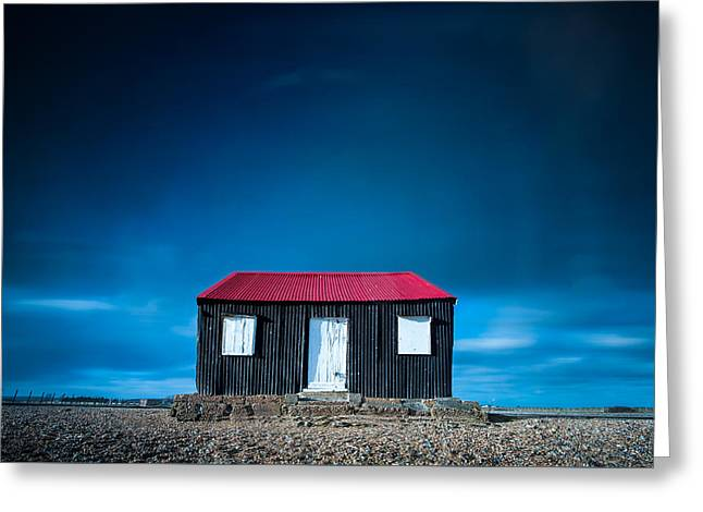 Aperture Greeting Cards - The tin shed on the Beach Greeting Card by John Fyn