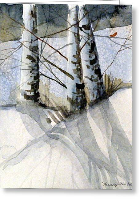 Winter Night Drawings Greeting Cards - The Tiny Bird Greeting Card by Mindy Newman