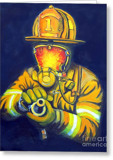 Flames Paintings Greeting Cards - The Tip Greeting Card by Paul Walsh