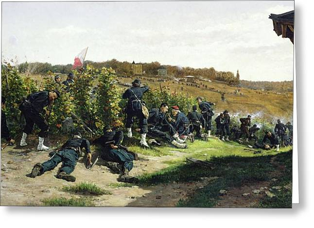 Royalty Greeting Cards - The Tirailleurs de la Seine at the Battle of Rueil Malmaison Greeting Card by Etienne Prosper Berne-Bellecour