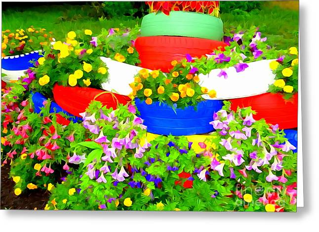 Abstract Digital Photographs Greeting Cards - The Tire Garden Greeting Card by Ed Weidman