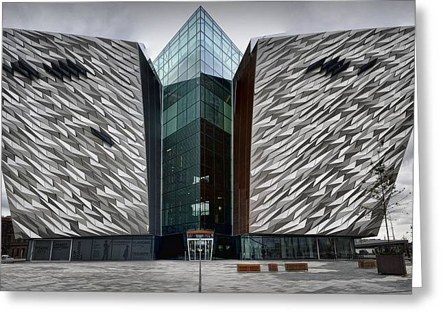 Star Line Greeting Cards - The Titanic Belfast Greeting Card by Chris Cardwell