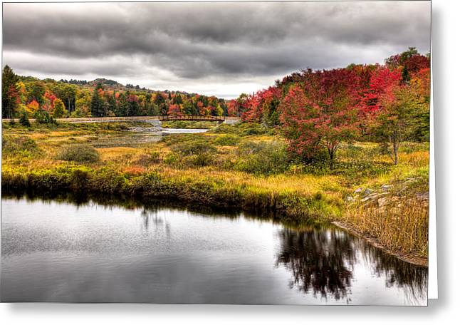 Reflections In River Greeting Cards - The TOBIE Trail Bridge in Autumn Greeting Card by David Patterson