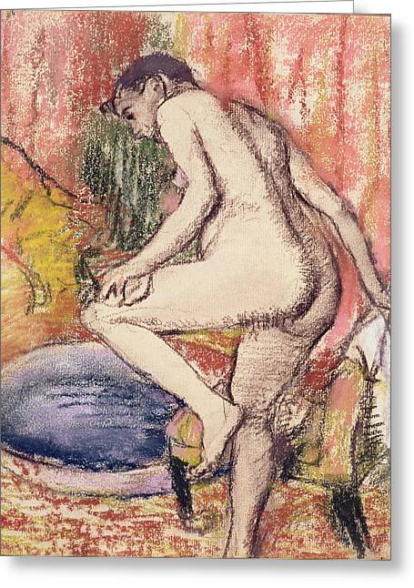 Feminine Pastels Greeting Cards - The Toilet Greeting Card by Edgar Degas