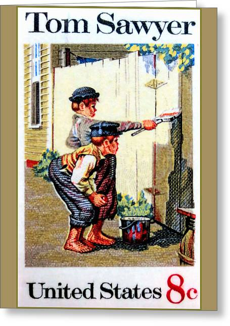 The Tom Sawyer Stamp Greeting Card by Lanjee Chee