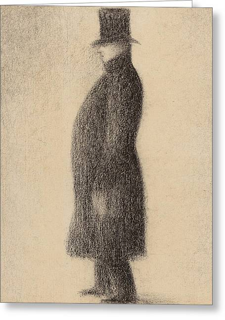 The Top Hat Greeting Card by Georges Pierre Seurat