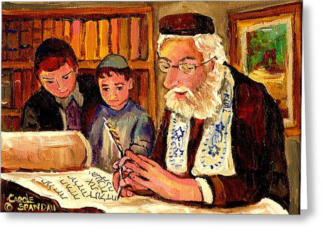 Lubavitcher Greeting Cards - The Torah Scribe Greeting Card by Carole Spandau