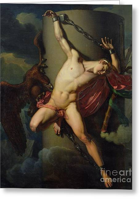 Mythology Greeting Cards - The Torture of Prometheus Greeting Card by Jean-Louis-Cesar Lair