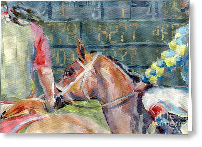 Jockey Greeting Cards - The Tote Board Greeting Card by Kimberly Santini