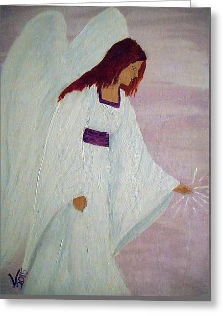Religious Paintings Greeting Cards - The touch of an angel Greeting Card by Valenteana J Chilsted