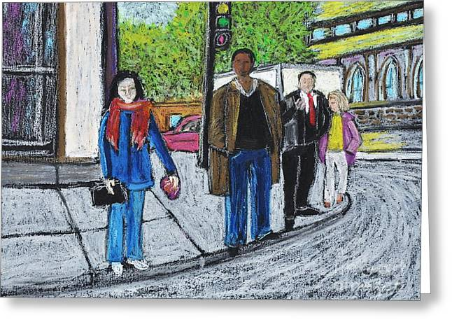 Montreal City Scenes Paintings Greeting Cards - The Tourist Greeting Card by Reb Frost