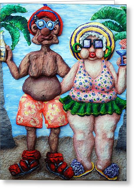 Sunbathing Mixed Media Greeting Cards - The Tourists Greeting Card by Alison  Galvan