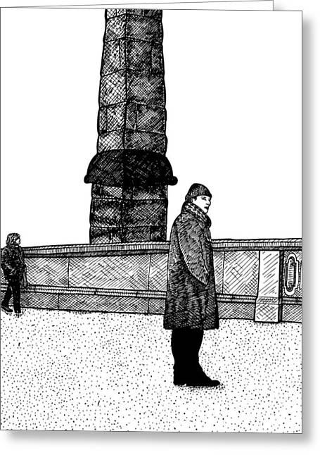 Human Beings Drawings Greeting Cards - The Tower Greeting Card by Karl Addison