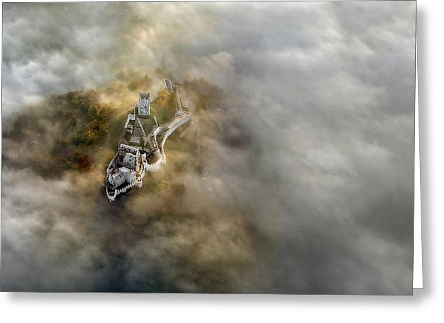 Fog Greeting Cards - The Tower Greeting Card by Matjaz Cater