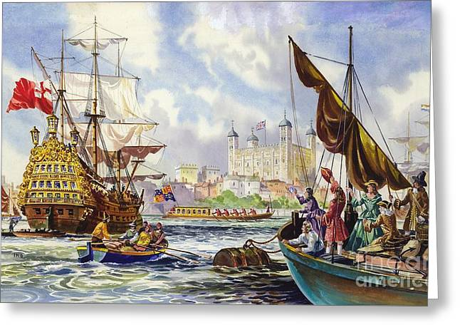The Tower Of London In The Late 17th Century  Greeting Card by English School