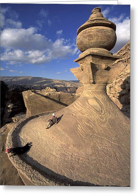 Jordan Art Greeting Cards - The Tower Of The Ad-deir Monastery Greeting Card by Richard Nowitz