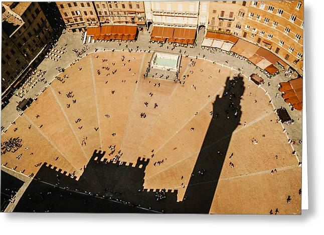 Sienna Italy Greeting Cards - The tower shadow in Siena Greeting Card by Roberto Pastrovicchio