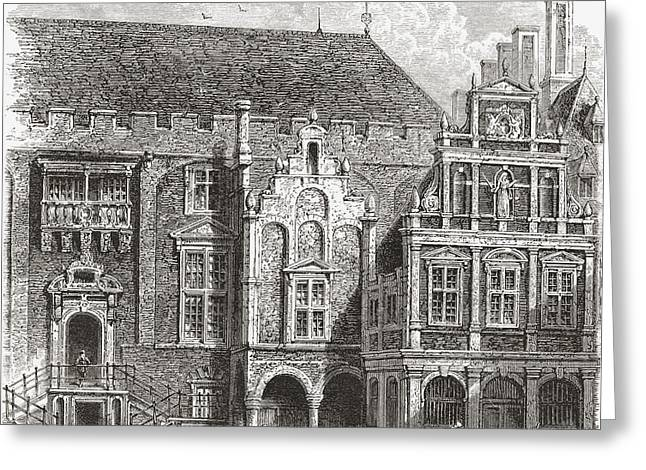 City Hall Drawings Greeting Cards - The Town Hall, Grote Markt, Haarlem Greeting Card by Ken Welsh